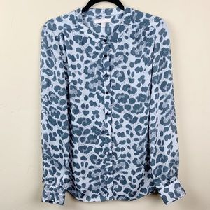 Banana Republic Animal Print Long Sleeve Top Sz 8